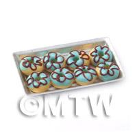 Dolls House Miniautre Blue Donuts On A Tray