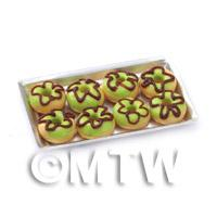Dolls House Miniature Green Donuts On A Tray