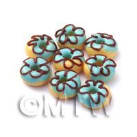 Dolls House Miniature Blue Iced Flower Donut