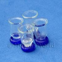 Dolls House Miniature 4 Piece Blue Bottom Real Glass Set