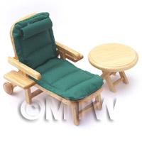 Dolls House Miniature Green Garden Sun Lounger