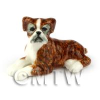 Dolls House Miniature Ceramic Relaxing Brindle Boxer Dog