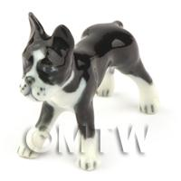 Dolls House Miniature Ceramic Black and White Boxer Dog