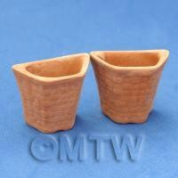 Pair of Dolls House Miniature Garden Terracotta Half Hexagonal Pots