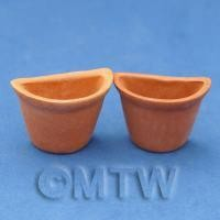 Pair of Dolls House Miniature Garden Terracotta Half Moon Pots