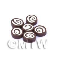 Dolls House Miniature Dark Chocolate and Cream Roulade Slice