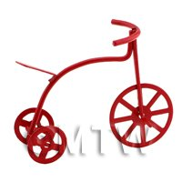 Dolls House Miniature Childrens Small Red Metal Tricycle