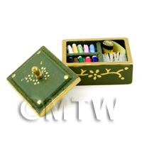 Dolls House Miniature Complete Sewing Kit in a Wooden Box