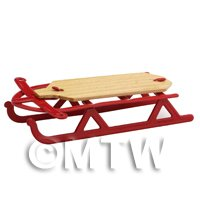 Dolls House Miniature Red Metal Sledge With Wooden Seat