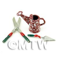 Dolls House Miniature Metal Shears, Trowel And Watering Can