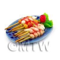 Dolls House Miniature Plate of Mixed Kebabs / Skewers Plate