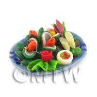 Dolls House Miniature Green Lipped Mussels on a Ceramic Plate