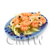Dolls House Miniature Plate of King Prawns on a Ceramic Plate