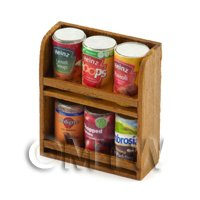 Dolls House Miniature Double Teak Wall Shelf And 6 Cans (TSD1)