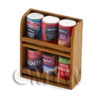 Dolls House Miniature Double Teak Wall Shelf And 6 Cans (TSD2)