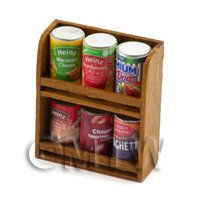 Dolls House Miniature Double Teak Wall Shelf And 6 Cans (TSD3)
