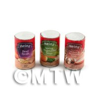 Dolls House Miniature Set of 3  Cans Of Heinz Soup