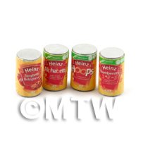 Dolls House Miniature set of 4  Cans Of Different Heinz Spaghetti