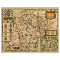 Dolls House Miniature John Speed Aged Devonshire Map