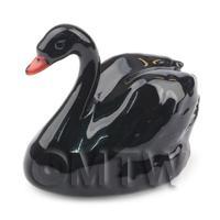 Dolls House Miniature Fine Ceramic Adult Black Swan