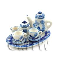 Dolls House Miniature 6 Piece Blue And White Oval Coffee Set