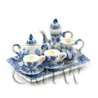 Dolls House Miniature 6 Piece Blue And White Design Fine Coffee Set