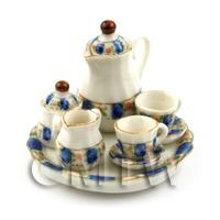 Dolls House Miniature 6 Piece Coffee Set Blue Pink Rose Design