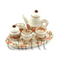 Dolls House Miniature  6 Piece Red And Green Floral Coffee Set