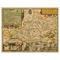 Dolls House Miniature John Speed Aged Dorsetshire Map