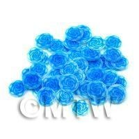 1/12th scale 50 Fimo Blue Rose Nail Art Cane Slices (NS74)