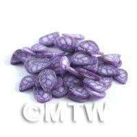 50 TINY Purple and Violet Sparkle Leaf Cane Slices (NS61)