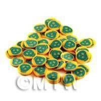 50 Green and Yellow Skull Halloween Cane Slices (NS44)