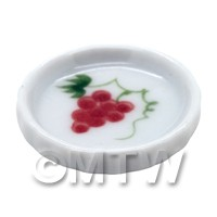 Dolls House Miniature Grape Design 21mm Ceramic Flan Dish