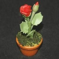 Dolls House Miniature Potted Red Rose