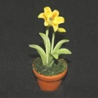 Dolls House Miniature Potted Yellow Lily