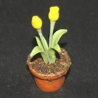 Dolls House Miniature Potted Yellow Tulip