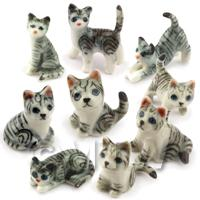 Dolls house Miniature Ceramic Set Of 9 Grey Grey Tabby Cats