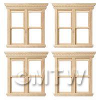 4 x Dolls House Miniature Opening Double Sash Wood Windows