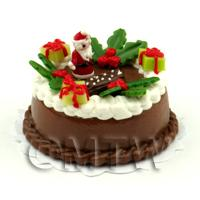 Dolls House Miniature Father Christmas Topped Chocolate Cake