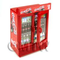 Dolls House Miniature Filled Double Coca Cola Fridge
