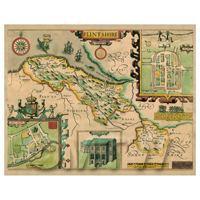 Dolls House Miniature John Speed Aged Flintshire Map