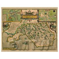 Dolls House Miniature John Speed Aged Glamorganshire Map