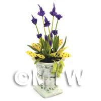 Dolls House Miniature Purple and Yellow Flowers In an Urn
