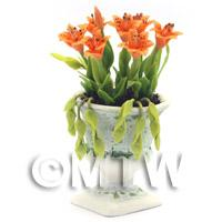Dolls House Miniature Orange Lilies In an Urn