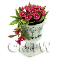Dolls House Miniature Pale Red Flowers In an Urn