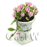 Dolls House Miniature Light Pink Flowers In an Urn