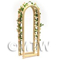 Pink English Climbing Roses On A Miniature Wood Arch