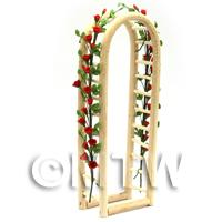 Red English Climbing Roses On A Miniature Wood Arch
