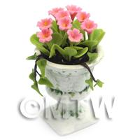 Dolls House Miniature Pink Flowers In an Urn