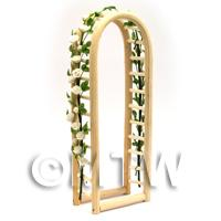 White English Climbing Roses On A Miniature Wood Arch